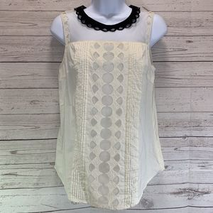 Esley Sheer Off White Shell Lace Detail Tank Top